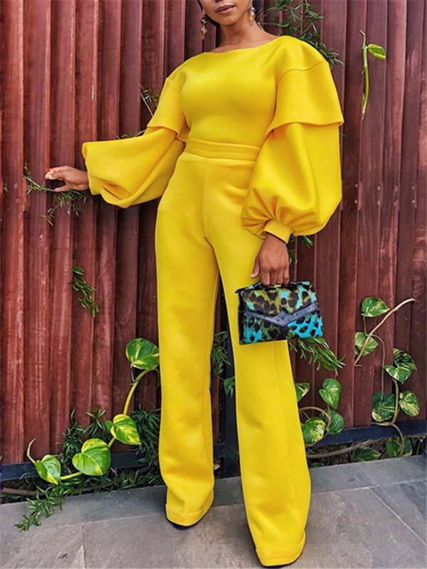 Yellow Puff Sleeve Jumpsuit
