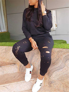 Ripped Sports Sweatshirt & Pants Set