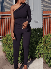 Load image into Gallery viewer, Asymmetric Black Jumpsuit
