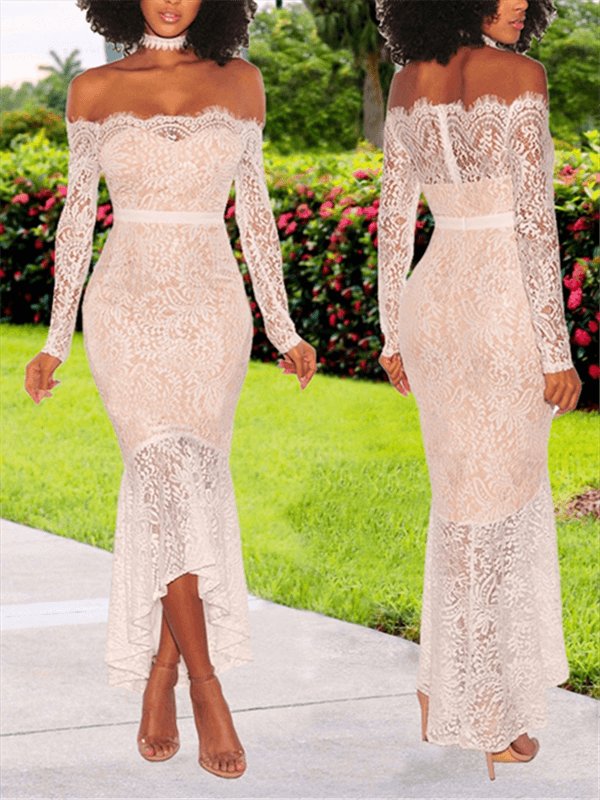 Off Shoulder Lace Mermaid Dress