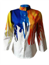Load image into Gallery viewer, Mandarin Collar Colorful Shirt