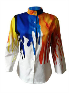 Mandarin Collar Colorful Shirt