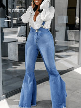 Load image into Gallery viewer, Denim Flared Suspender Jeans
