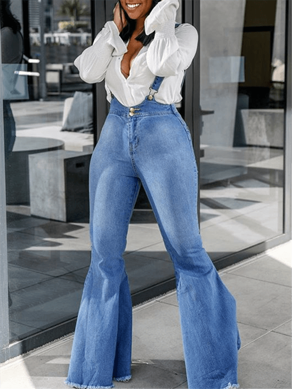 Denim Flared Suspender Jeans