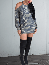 Load image into Gallery viewer, Cold Shoulder Camo Dress