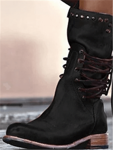 Square Heel Rivet Lace-Up Boots