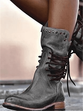 Load image into Gallery viewer, Square Heel Rivet Lace-Up Boots
