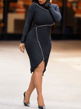 "Load image into Gallery viewer, ""Bianca"" Black Bodycon Dress"