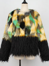 Load image into Gallery viewer, Prism Contrast Faux Fur Coat (1445372067885)