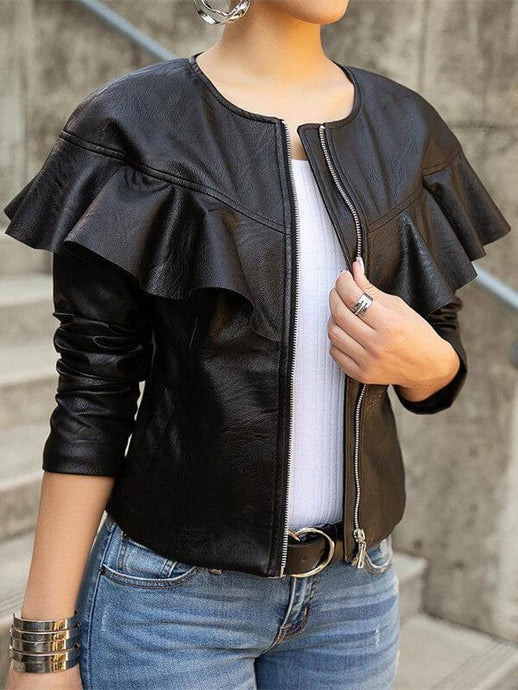 Round Neck Frilled PU Jacket--shipped on 11/20 (1448388067373)