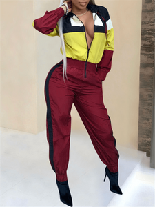 Colorblock Zip Front Jumpsuit