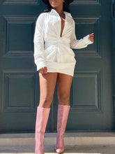 Load image into Gallery viewer, White Twisted Shirt Dress - sold out
