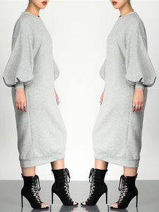 Plain Sweatshirt Dress
