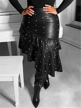 Load image into Gallery viewer, Pearl Studded Ruffle PU Skirt