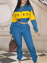 Load image into Gallery viewer, Slogan Two-Tone Jacket & Drawstring Pants Set