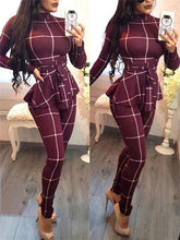 Load image into Gallery viewer, Plaid Peplum Belted Jumpsuit