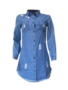Destroyed Button-Down Denim Shirt Dress (1446162563117)