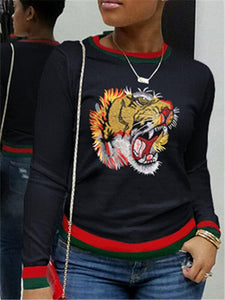 Tiger Embroidery Stripe Top