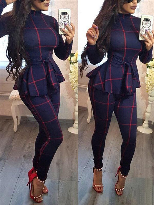 Plaid Peplum Belted Jumpsuit
