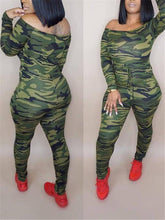 Load image into Gallery viewer, Off Shoulder Camo Jumpsuit
