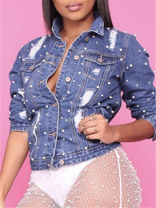 Pearl Studded Destroyed Denim Jacket