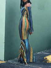Load image into Gallery viewer, Off Shoulder Stripe Mermaid Dress - Only US 4 Left