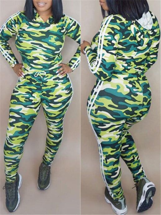 Side-Stripe Camo Hoodie & Pants Set