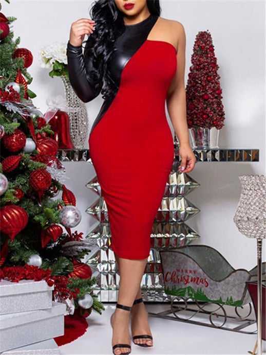 PU Combo One Sleeve Bodycon Dress