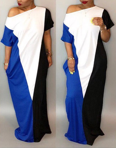 Contrast Color Side Slouchy Maxi Dress