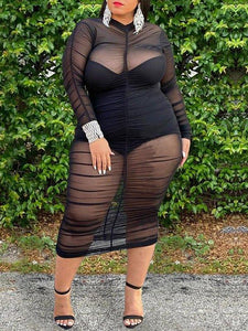 Plus Size Ruched Sheer Dress