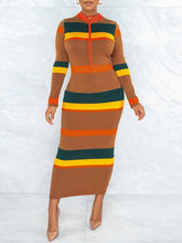 Load image into Gallery viewer, Colorblock Zip-Front Dress
