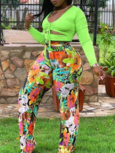 Load image into Gallery viewer, Cutout Crop Top & Floral Pants Set