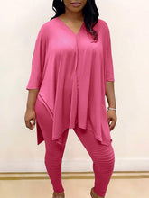 Load image into Gallery viewer, Plus-Size V-Neck Top & Pants Set