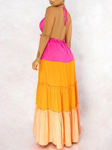 Three-Tone Halter Maxi Dress