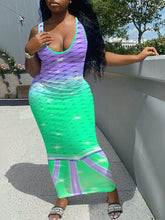 Load image into Gallery viewer, Mermaid Scales Printed Tank Dress