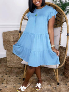 Solid Ruffle Tent Dress