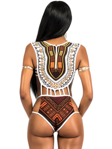 Print One Piece Swimsuit - Queenfy