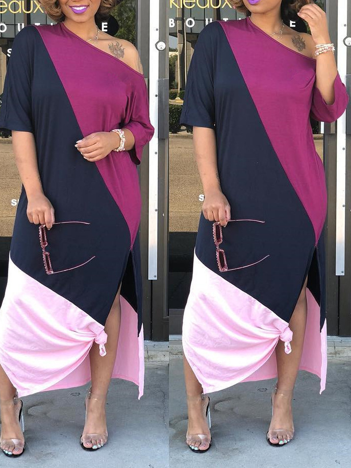 Three-tone Slit Maxi Dress