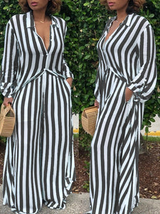 Striped Long Shirt Wide Leg Pants Two Piece (795796963445)