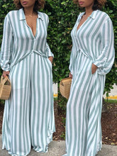 Load image into Gallery viewer, Striped Long Shirt Wide Leg Pants Two Piece (795796963445)