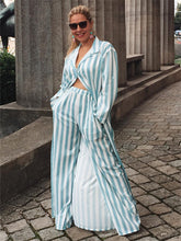 Load image into Gallery viewer, Striped Long Shirt Wide Leg Pants Two Piece