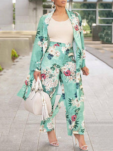 Floral Printed Wide Leg Two Piece