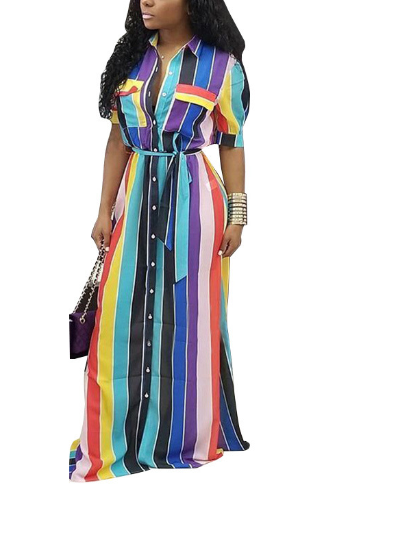 Stripe Maxi Shirt Dress with Belt