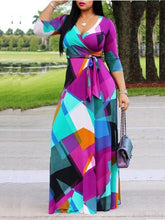 Load image into Gallery viewer, Color-Block Maxi Dress with Belt (1307110965365)