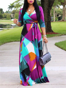 Color-Block Maxi Dress with Belt (1307110965365)