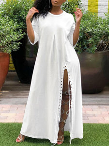 White Lace-up Slit Dress