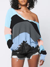 Load image into Gallery viewer, Destroyed V Neck Colorblock Sweater (1430381363317)