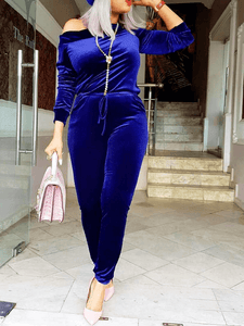 Royal Blue Velvet Jumpsuit (1500223602733)