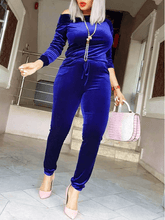 Load image into Gallery viewer, Royal Blue Velvet Jumpsuit (1500223602733)