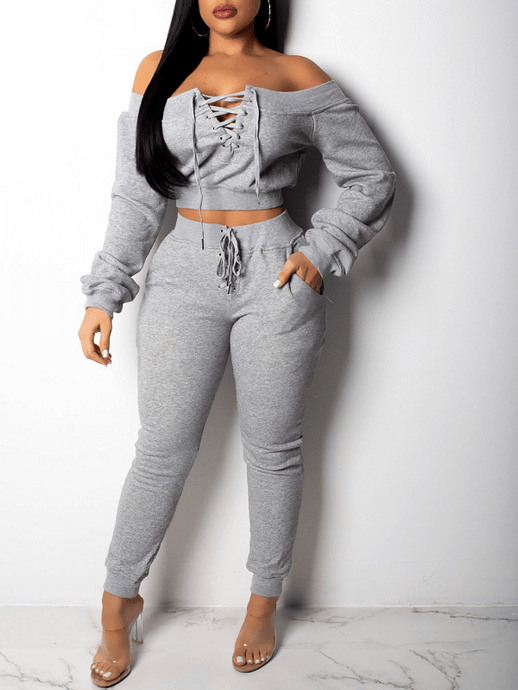 Lace-up Sweatshirt Set